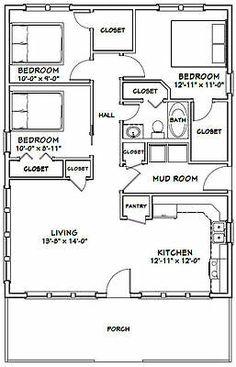 24 X 36 House Plans Elegant House 1 008 Sq Ft Excellent Floor Plans The Plan, How To Plan, 3 Bedroom Floor Plan, House Plans 3 Bedroom, Tiny House 3 Bedroom, Bedroom Small, Small House Floor Plans, Barn House Plans, Small Cabin Plans