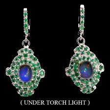 AMAZING OVAL CAB HOT RAINBOW FIRE OPAL,GREEN EMERALD STERLING 925SILVER EARRINGS