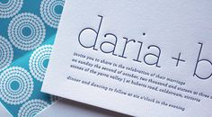 Wedding invitation, beautiful typography, letterpress, blue and white, Simple Things Press