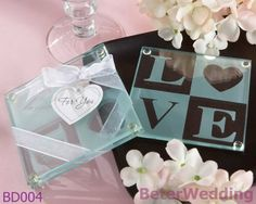 Aliexpress.com : Buy 9set Free Shipping 18pcs Love Glass Coasters wedding decoration and wedding favor BD004 Wedding Gifts wholesale from Reliable wedding Decoration suppliers on Your Unique Wedding Favors $62.00