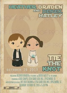 Star Wars Wedding Invitation complete with icons movie fonts