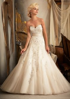 9a68838df5 Bridal Gown From Mori Lee By Madeline Gardner Dress Style 1909 Embroidered  Net with Satin Cummerbund