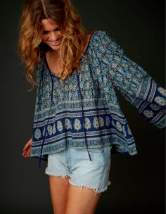 Comfy bohemian smock & denim cut offs. Eternal Sunshine Creations - Holiday 2014 collection.