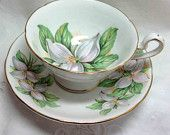 #Vintage Royal Stafford White Trillium Teacup & Saucer - #Bone China - England - Footed Gilt  - #White Floral green leaves boomerville at Etsy.com