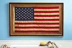 Framed Vintage American Flags