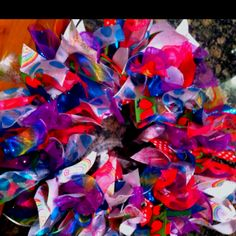 100 days of school project. 100 ribbons for 100 days. Ribbon wreath.