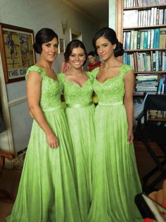 Lime Green Chiffon Corset Long Bridesmaids Dress, Formal Prom Dress
