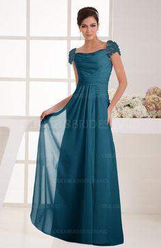 Moroccan Blue Elegant A-line Wide Square Short Sleeve Appliques Bridesmaid Dresses (Style D34390)