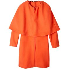 MSGM Orange Wool Cape Coat ($564) ❤ liked on Polyvore