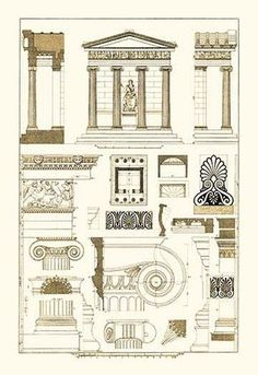 Architectural Drawing Patterns Temple of Nike Apteros at Athens - Architectural Drawings of Renaissance Architecture Architecture Antique, Detail Architecture, Ancient Greek Architecture, Roman Architecture, Classic Architecture, Architecture Drawings, Interior Architecture, Pavilion Architecture, Neoclassical Architecture