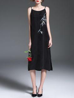 Black Rayon Spaghetti Spaghetti H-line Midi Dress