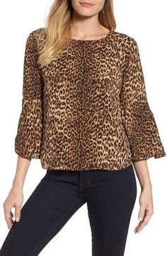 Vince Camuto Hammer Satin Bell Sleeve Blouse, #ad, stitch fix, women's style, fashion, tops, spring fashion, spring, cheetah