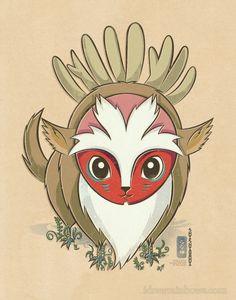 Chibi Ghibli Print Forest Spirit Princess by idrawrainbows Hayao Miyazaki, Studio Ghibli Films, Art Studio Ghibli, Totoro, Film Anime, Manga Anime, Anime Art, Chibi, Princes Mononoke