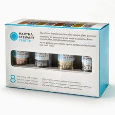 Martha Stewart Crafts™ Fine Glitter Translucent & Metallic Opaque Glass Paint Set