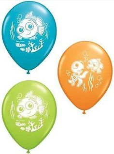 """Included: 10 Balloons Total 11"""" Finding Nemo Latex Balloons Print is on all sides Colors include Robin's Egg Blue, Orange, Lime Green Print is White These ite"""