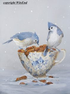 THE GIFT  A vintage china teacup, brimming with peanuts and set in the garden, is a welcomed gift to a pair of titmouses  DETAILS  this piece is a fully hand painted original by seller (© witsend) on a stretched gallery canvas and may be displayed without a frame or may easily be popped into a standard size, ready-made frame.  Your piece will arrive with all necessary hanging apparatus in place for your immediate enjoyment. As with all of my pieces, this piece is artist signed, dated, and is…