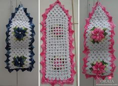PORTA PAPEL HIGIÊNICO Knit Crochet, Crochet Hats, Crochet Edgings, Crochet Square Patterns, Tissue Boxes, Baby Blanket Crochet, Toilet Paper, Projects To Try, Decoration