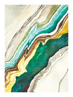 Agate Abstract Watercolor: Art Print by versoPRINTS on Etsy