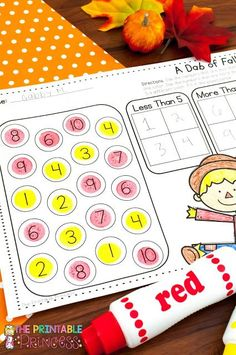 On the lookout for no prep fall activities for Kindergarten? Then you're going to love these low prep math and ELA games! These easy to prep DIY games are perfect for your Kinder students, but they'll also work with in preschool or 1st grade classrooms! {