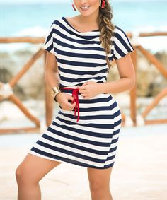 Look at this #zulilyfind! Navy & White Stripe Boatneck Dress #zulilyfinds