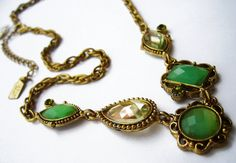 1928 Antiqued Gold Tone and Seafoam Green by Jeriscustomoriginals, $21.75