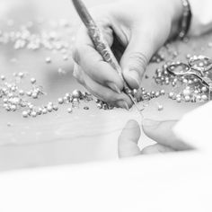 The making of a haute couture dress with hand-embellished fabrics - fashion atelier; fashion design behind the scenes