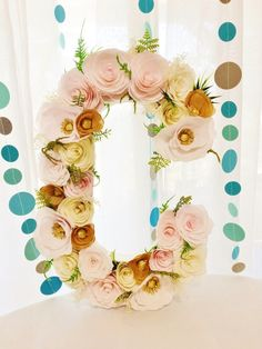Can you just picture this lovely blush and gold paper flower letter in your new babies nursery?