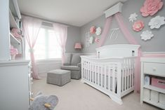 20 Best Baby Girl Room Ideas You Must Need to Know 2019 My baby girls nursery. I love the pink greys and white. Giant Paper Flowers were made by me as well. The post 20 Best Baby Girl Room Ideas You Must Need to Know 2019 appeared first on Nursery Diy. Baby Girl Nursery Themes, Baby Room Decor, Pink And Grey Nursery Baby Girl, Pink Elephant Nursery, Room For Baby Girl, Baby Room Grey, Baby Girl Nurseries, Baby Room Ideas For Girls, Baby Nursery Ideas For Girl