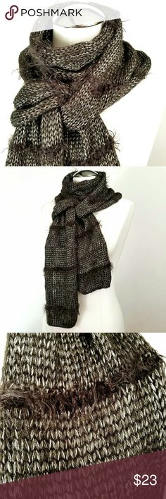 Nine West Fuzzy Stripe Scarf with Sheen Silver Sheen glam base with thin fuzzy stripes spaced evenly throughout the length of this soft scarf by Nine West Nine West Accessories Scarves & Wraps