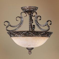 """French Bronze 19"""" Wide Ceiling Light Fixture 