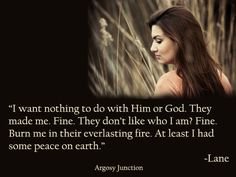 "Argosy Junction: I know it's still her choice--that others don't  ""make"" her do/think anything, but man I hate when the church destroys itself from the inside out."