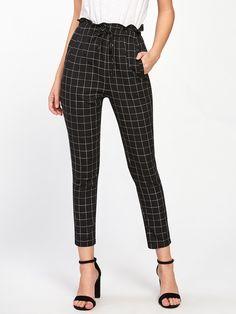 Pants by BORNTOWEAR. Frilled Waist Grid Pants