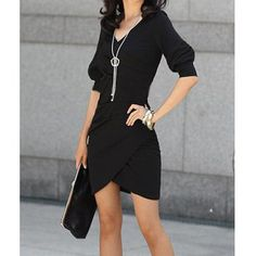 $18.78 Laconic V-Neck Solid Color 1/2 Sleeve Women's Dress