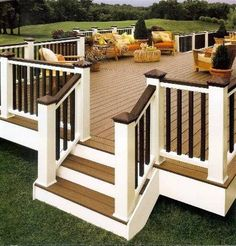Exterior. Shockingly Creative Decking And Fencing Designs: Awesome Off White And Dark Brown Back Patio Ideas Deck Design Ideas ~ iiDudu