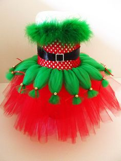 Elf Santa's Little Helper Inspired Tutu DRESS Set Newborn-24mos Set- Tutu Dress, Over the Top Hat Headband, and Wand
