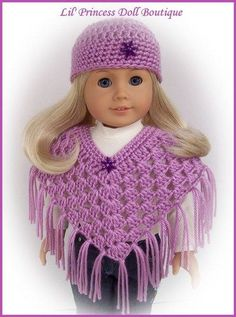 "Doll Clothes Fit 18"" American Girl Doll Crochet Poncho Set-Blackberry"