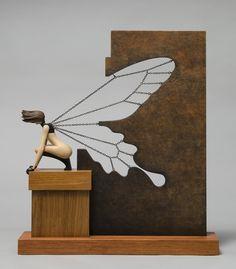Butterfly Effect By John Morris Sculptured Wood 42x10cm x 48cm