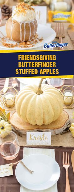 These Butterfinger Stuffed Apples are sure to impress your dinner guests this fall. Warm baked apples, cranberries, brown sugar, rolled oats, walnut, cinnamon, and vanilla ice cream come together to create a rich dessert recipe. Top this slow cooker treat with the crispety, crunchety, peanut-buttery taste of BUTTERFINGER® Fun Size candy bars for an irresistible Thanksgiving dish.