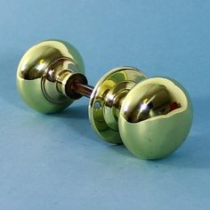 A nice large pair of brass bun shaped rim lock door knobs, complete with threaded spindle for ease of fitting.