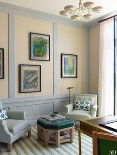 The sitting area of Bobbie's office features artworks by Monique Beucher | archdigest.com
