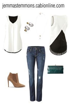 """""""Summer to Fall"""" by jemmastemmons ❤ liked on Polyvore. cabi's Domino Blouse and slim deconstructed boyfriend jean"""