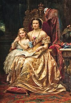 Queen Marie of Hanover and her daughter Mary by Wilhelm von Kaulbach, c. 1866, photo Michael Gabler