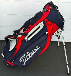 TITLEIST STAND GOLF BAG~RED/WHITE/BLUE~RAIN COVER~LIGHTWEIGHT~GOOD CONDITION #Titleist #Modern