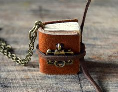 Miniature Tan Leather Journal Necklace with by AlunsinaJournal, $15.00