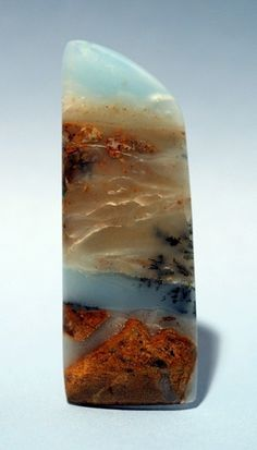 """Nevada Blue Chalcedony"" - sometimes referred to as picture agate which works well with this piece. Lovely! ~:^)>"