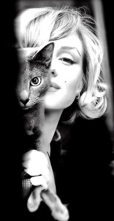 Black and white gorgeous shot of Marilyn Monroe with an equally stunning cat.