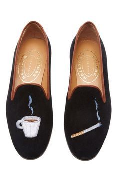 M'O Exclusive: Happy Menocal Breakfast Of Champions Slipper by Stubbs & Wootton for Preorder on Moda Operandi