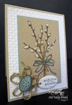 These stamped pussywillows have Fleece Flower Soft added for extra fuzziness.  The punched egg is sitting on some twine loops shaped into a flower.  Sage and kraft and white are a great color combination for this handmade Easter card.