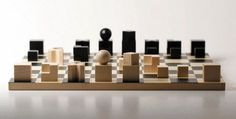 Bauhaus Chessmen: A minimalistic home would be well served by these wooden Bauhaus chess pieces.