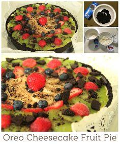 Oreo Cheesecake Fruit Pie    Recipe inspired by http://www.snackworks.com/recipe/oreo-fruit-tart-54719.aspx
